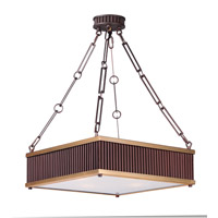 Ruffle 4 Light 19 inch Oil Rubbed Bronze and Burnished Brass Single Pendant Ceiling Light