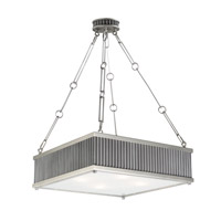 Ruffle 4 Light 19 inch Weathered Zinc and Satin Nickel Single Pendant Ceiling Light