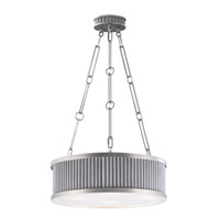 Ruffle 4 Light 18 inch Weathered Zinc and Satin Nickel Single Pendant Ceiling Light