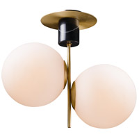 Vesper 2 Light 10 inch Satin Brass and Black Semi-Flush Mount Ceiling Light