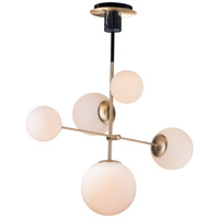 Vesper 4 Light 15 inch Satin Brass and Black Suspension Pendant Ceiling Light