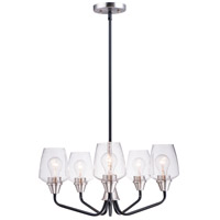 Maxim 26125CLBKSN Goblet 5 Light 23 inch Black and Satin Nickel Chandelier Ceiling Light
