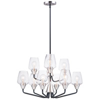 Goblet 9 Light 27 inch Black and Satin Nickel Multi-Tier Chandelier Ceiling Light