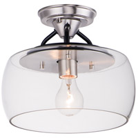 Goblet 1 Light 11 inch Black and Satin Nickel Semi-Flush Mount Ceiling Light