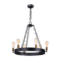 Maxim 26273BKNAB/BUI Noble 6 Light 26 inch Black/Natural Aged Brass Chandelier Ceiling Light