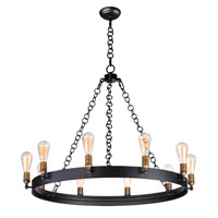 Noble 10 Light 38 inch Black/Natural Aged Brass Chandelier Ceiling Light