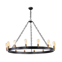 Noble 14 Light 50 inch Black/Natural Aged Brass Chandelier Ceiling Light