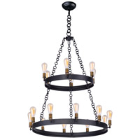 Maxim 26277BKNAB Noble 16 Light 38 inch Black and Natural Aged Brass Multi-Tier Chandelier Ceiling Light