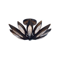 Lotus 3 Light 19 inch Burnished Bronze Semi-Flush Mount Ceiling Light