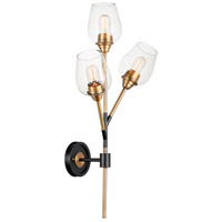 Maxim 26341CLABBK Savvy 3 Light Antique Brass and Black Wall Sconce Wall Light