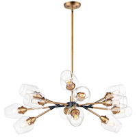 Maxim 26347CLABBK Savvy 12 Light 46 inch Antique Brass and Black Chandelier Ceiling Light