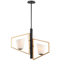 Maxim 26353SWGLDBK Oblique 3 Light 30 inch Gold and Black Multi-Light Pendant Ceiling Light
