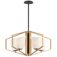 Maxim 26355SWGLDBK Oblique 5 Light 30 inch Gold and Black Chandelier Ceiling Light