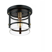 Maxim 2641BKAB Capitol 1 Light 10 inch Black and Antique Brass Flush Mount Ceiling Light photo thumbnail