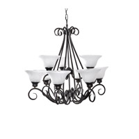 Pacific 9 Light 31 inch Kentucky Bronze Multi-Tier Chandelier Ceiling Light in Marble