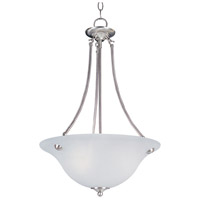 Malaga 3 Light 16 inch Satin Nickel Invert Bowl Pendant Ceiling Light in Frosted
