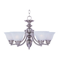 Malaga 6 Light 26 inch Satin Nickel Single-Tier Chandelier Ceiling Light in Frosted