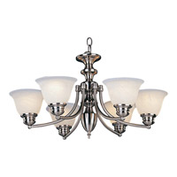 Maxim 2684MRSN Malaga 6 Light 26 inch Satin Nickel Single Tier Chandelier Ceiling Light in Marble