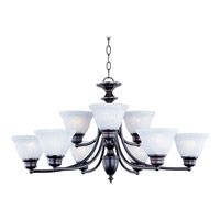 Maxim 2685MROI Malaga 9 Light 32 inch Oil Rubbed Bronze Multi-Tier Chandelier Ceiling Light in Marble