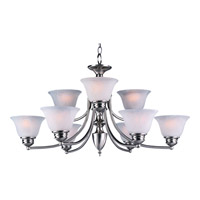 Malaga 9 Light 32 inch Satin Nickel Multi-Tier Chandelier Ceiling Light in Marble