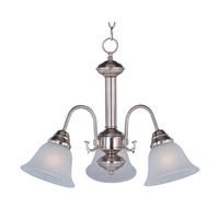 Maxim 2697FTSN Malaga 3 Light 20 inch Satin Nickel Mini Chandelier Ceiling Light in Frosted