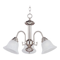 Maxim 2697MRSN Malaga 3 Light 20 inch Satin Nickel Mini Chandelier Ceiling Light in Marble