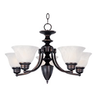 Maxim 2699MROI Malaga 5 Light 25 inch Oil Rubbed Bronze Single Tier Chandelier Ceiling Light in Marble