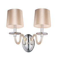 Venezia 2 Light 15 inch Polished Nickel Wall Sconce Wall Light in Cognac