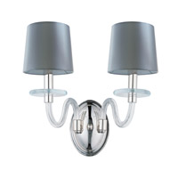 Venezia 2 Light 15 inch Polished Nickel Wall Sconce Wall Light in Clear