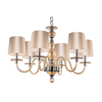 Venezia 6 Light 28 inch Polished Nickel Single-Tier Chandelier Ceiling Light in Cognac