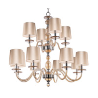 Venezia 12 Light 35 inch Polished Nickel Multi-Tier Chandelier Ceiling Light in Cognac