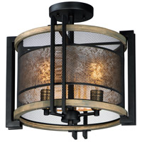 Maxim 27560BKBWAB Boundry 3 Light 17 inch Black and Barn Wood and Antique Brass Flush Mount Ceiling Light