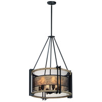 Maxim 27565BKBWAB Boundry 6 Light 24 inch Black and Barn Wood and Antique Brass Chandelier Ceiling Light