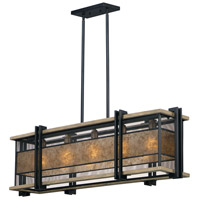 Maxim 27567BKBWAB Boundry 5 Light 45 inch Black and Barn Wood and Antique Brass Linear Pendant Ceiling Light