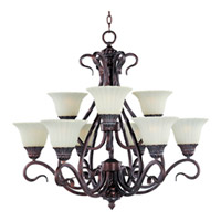 Maxim Lighting Via Roma 9 Light Multi-Tier Chandelier in Greek Bronze 2775SVGB