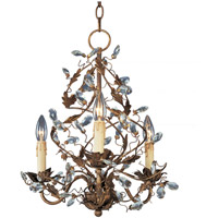 Elegante 3 Light 19 inch Etruscan Gold Mini Chandelier Ceiling Light