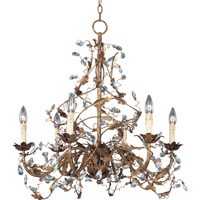 Elegante 6 Light 27 inch Etruscan Gold Single Tier Chandelier Ceiling Light