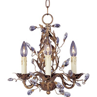 Elegante 3 Light 14 inch Etruscan Gold Mini Chandelier Ceiling Light