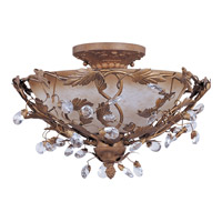 Elegante 3 Light 17 inch Etruscan Gold Semi Flush Mount Ceiling Light