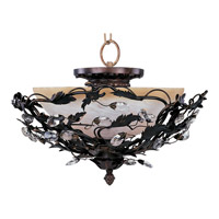 Elegante 3 Light 17 inch Oil Rubbed Bronze Semi Flush Mount Ceiling Light