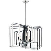 Maxim 28677PNBK Radial 5 Light 30 inch Polished Nickel and Black Multi-Light Pendant Ceiling Light