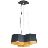 Maxim 30334BKGLD Honeycomb LED 16 inch Black and Gold Chandelier Ceiling Light