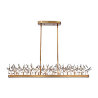 Crystal Garden 10 Light 50 inch Gold Leaf Linear Pendant Ceiling Light