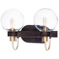 Bauhaus 2 Light 16 inch Bronze and Satin Brass Bath Vanity Wall Light
