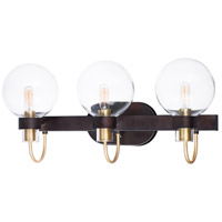 Bauhaus 3 Light 23 inch Bronze and Satin Brass Bath Vanity Wall Light