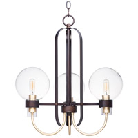 Maxim 30515CLBZSBR Bauhaus 3 Light 20 inch Bronze and Satin Brass Mini Chandelier Ceiling Light
