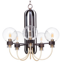 Bauhaus 5 Light 24 inch Bronze and Satin Brass Single-Tier Chandelier Ceiling Light
