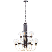 Bauhaus 9 Light 28 inch Bronze and Satin Brass Multi-Tier Chandelier Ceiling Light