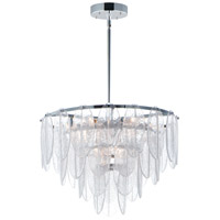 Maxim 30735CLWTPC Glacier 9 Light 24 inch White and Polished Chrome Chandelier Ceiling Light