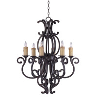 Richmond 6 Light 31 inch Colonial Umber Single Tier Chandelier Ceiling Light in Without Crystals, Without Shade